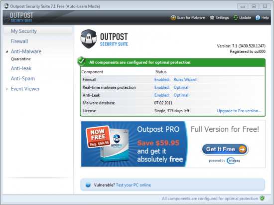 Скриншот Agnitum Outpost Security Suite FREE 7.1