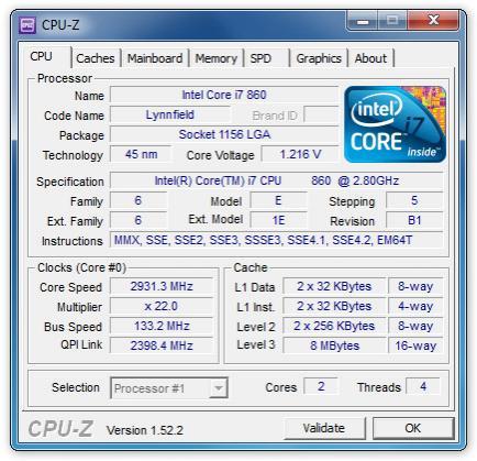 Скриншот CPU-Z 1.64 + Portable
