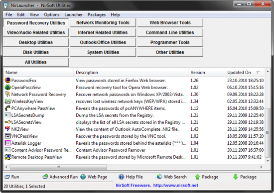 Скриншот NirLauncher 1.18.11