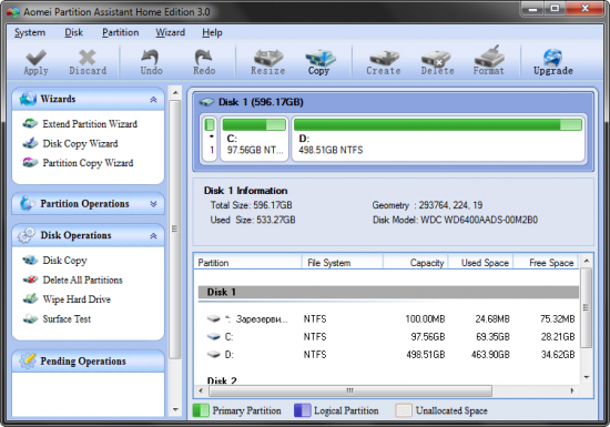 Скриншот AOMEI Partition Assistant 7.0