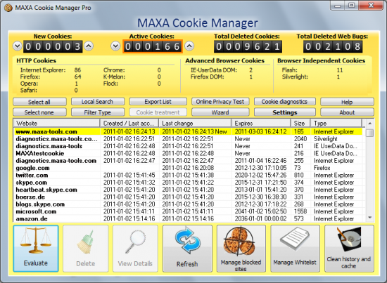 Скриншот MAXA Cookie Manager 5.0.0.19