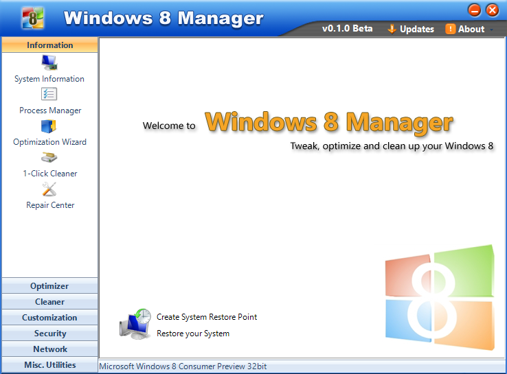 Скриншот Windows 8 Manager 2.2.8