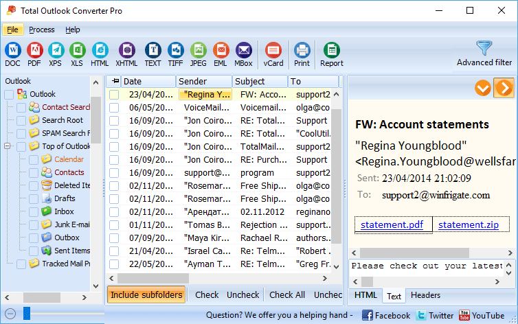 Скриншот Total Outlook Converter Pro 4.1