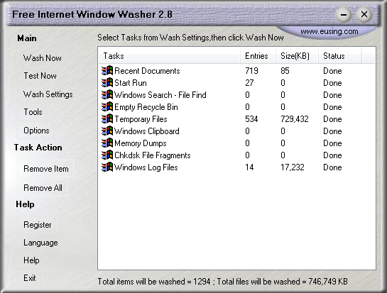 Скриншот Free Internet Window Washer 2.8.5