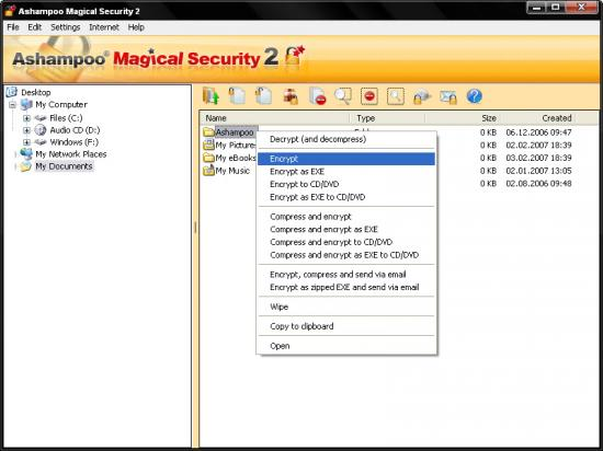 Скриншот Ashampoo Magical Security 2.02