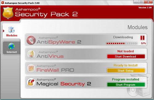 Скриншот Ashampoo Security Pack 2.0