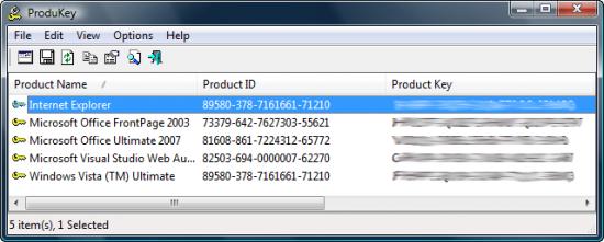 Скриншот ProduKey 1.60
