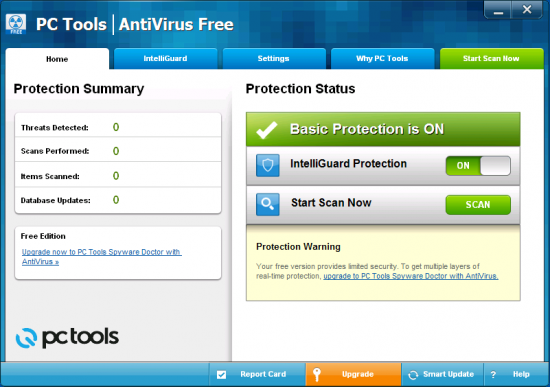 Скриншот PC Tools AntiVirus Free Edition 9.1.0.2898