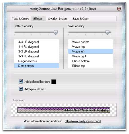 Скриншот AmitySource Userbar Generator 2.2