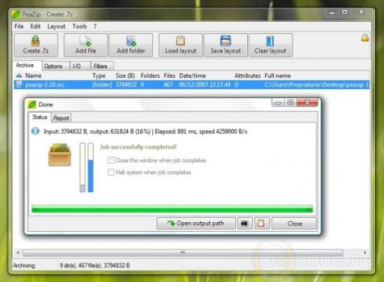 Скриншот PeaZip 4.9.2