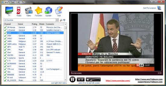 Скриншот AnyTV Free 2.43