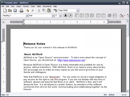 Скриншот AbiWord Portable 2.8.6