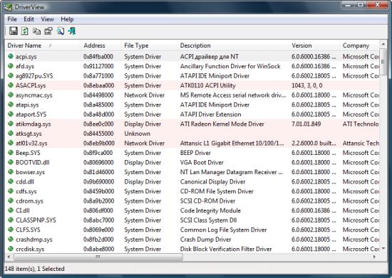 Скриншот DriverView 1.42