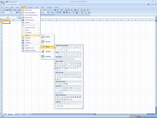 Скриншот Classic Style Menus and Toolbars for Microsoft Excel 4.8