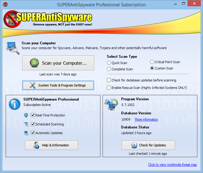 Скриншот SUPERAntiSpyware Free Edition 6.0.1260