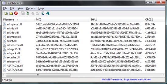 Скриншот HashMyFiles 1.96