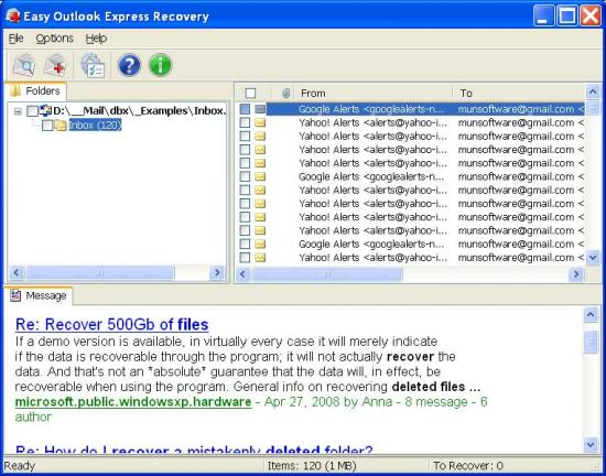 Скриншот Easy Outlook Express Recovery 2.0