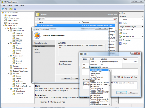 Скриншот MAPILab Reports for Exchange Server 3.5